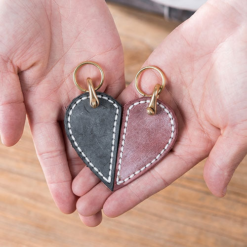 DIY Kit Genuine Leather Heart Key Chain Handmade Cute Gift Women Mens