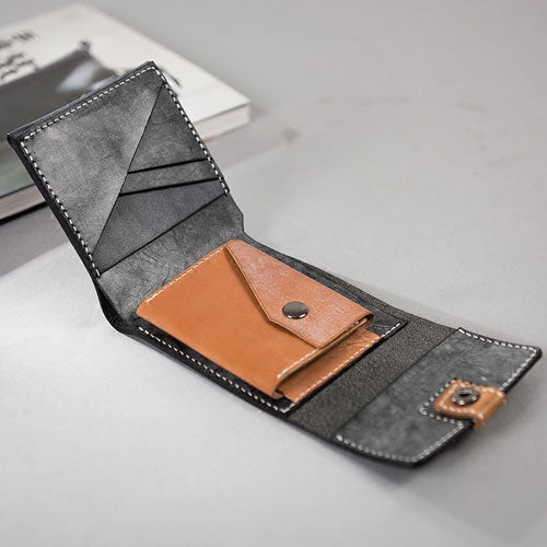 Genuine Leather Handstitched Wallet Folded Short Wallet Clutch Card Wallet Coin Purse women mens - Annie Jewel
