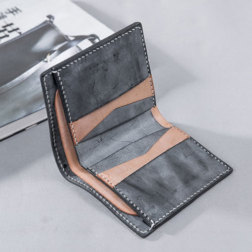 Genuine Leather Handstitched Wallet Folded Short Wallet Clutch Card Wallet Coin Purse women mens