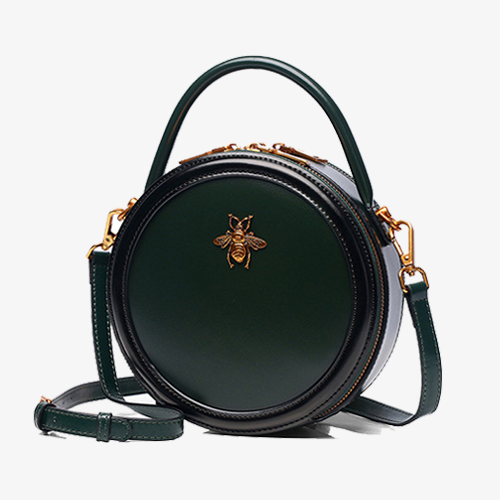 Bumblebee Leather Circle Crossbody Bags - Annie Jewel