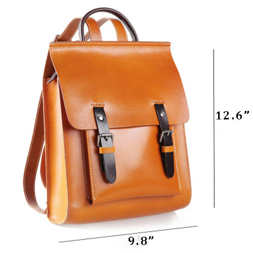 Women's Tan Satchel Backpack Bags - Annie Jewel