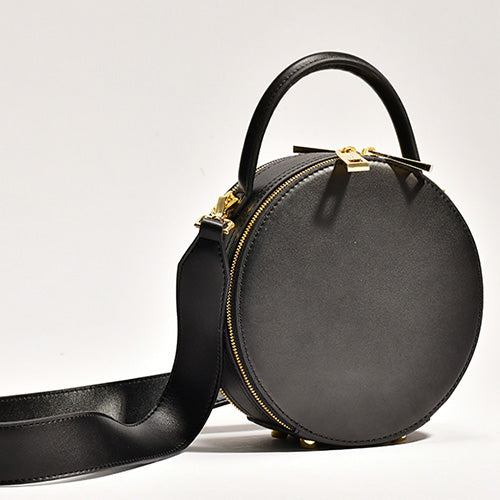 Black Leather Circle Bag Crossbody Clutch Bags