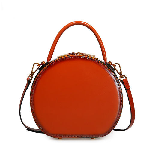df2ab7a3e ... Brown Leather Circle Round Purses Crossbody Bags - Annie Jewel ...