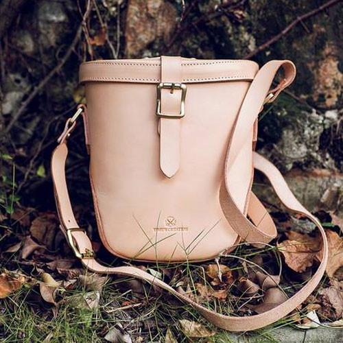 Genuine Leather bucket bag hand stitched handmade shoulder bag crossbody bag handbag clutch purse for women - Annie Jewel