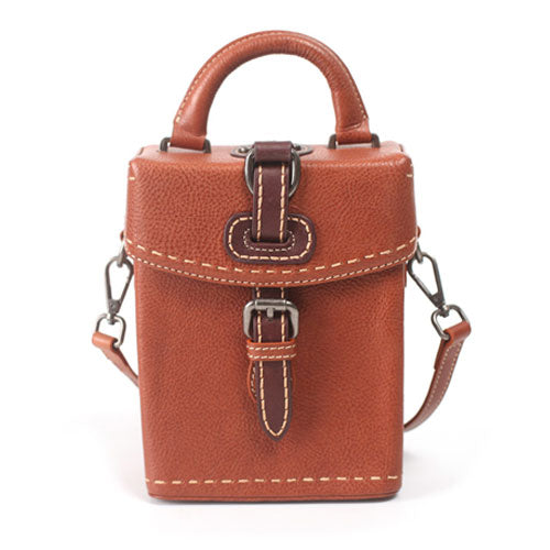 Small Leather Structured Shoulder Bag Square Crossbody Bag - Annie Jewel