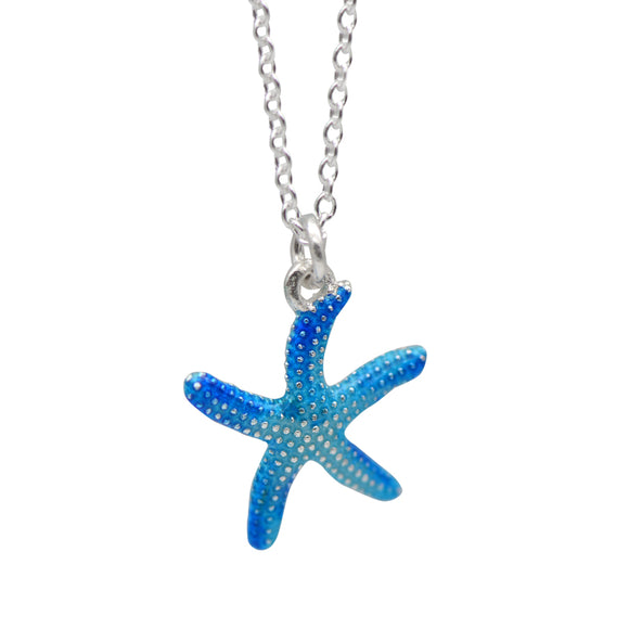 Cute Blue Starfish Pendant Charm Silver Necklace Gift Jewelry Accessories Women - Annie Jewel