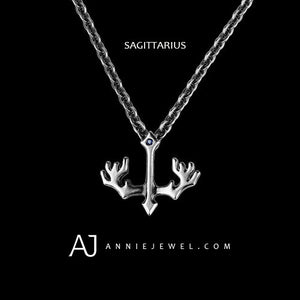 Silver Necklace Sagittarius Punk Spirit Zodiac Astrology Constellation Charm Chokers Gift Jewelry Accessories Women Christmas