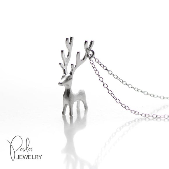 Necklace Silver Reindeer Pendant Charm Necklace Christmas Gift Jewelry Accessories Women