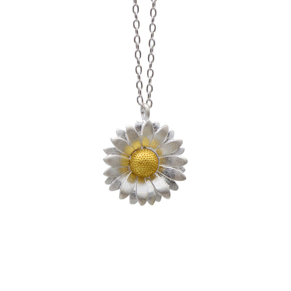 Sterling Silver Necklace Handmade Floral Sunflower Pendant Charm Necklace Gift Jewelry Cute Accessories Women