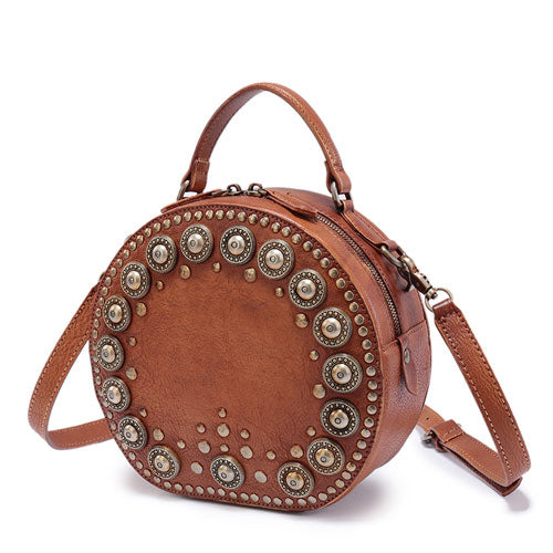 Round Leather Purse Boho Studded Circle Cross Body Bag - Annie Jewel
