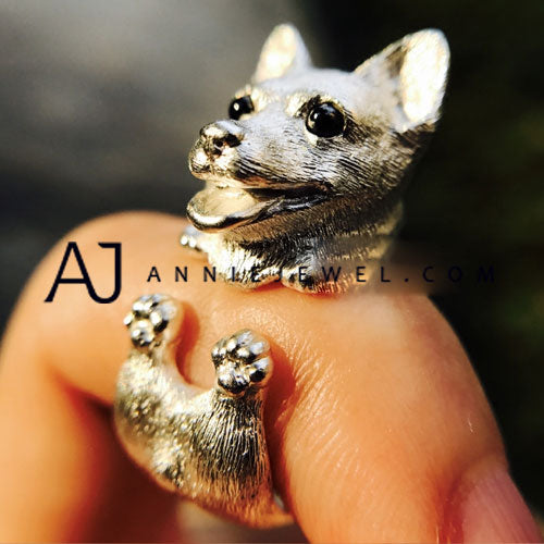 Unique Handmade Silver Ring Tooling Corgi Puppy Dog Pet Cute Ring Gift Jewelry Accessories Women Girls
