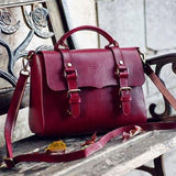 Women Red Leather Messenger Bag Handbags Shoulder Crossbody Bags Purse