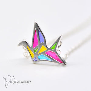 Necklace Silver Origami Crane Colorful Glaze Pendant Charm Necklace Gift Jewelry Accessories Women