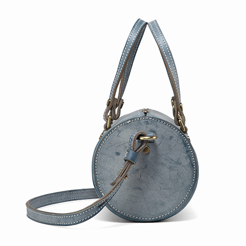 Waxed Foggy Leather Mini Barrel Handle Crossbody Bag Purse - Annie Jewel