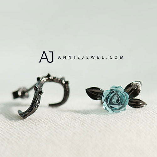 Silver Earrings Unique Bramble Rose Studs Earrings Cute Gift Jewelry Accessories For Women Girls - Annie Jewel
