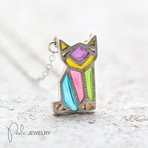 Necklace Silver Origami Cat Kitty Colorful Glaze Pendant Charm Necklace Gift Jewelry Accessories Women