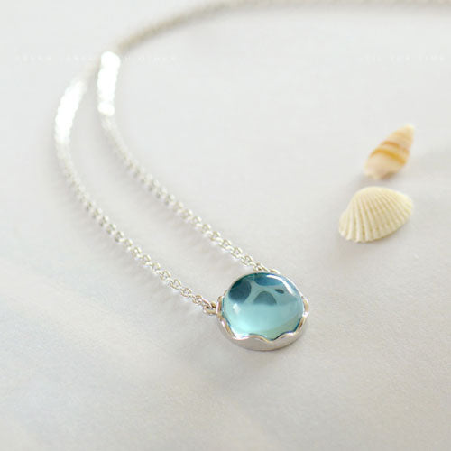 Sterling Silver Ocean Blue Crystal Charm Pendant Necklace - Annie Jewel