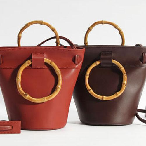 Bamboo Handle Small Leather Red Bucket Bag Purse - Annie Jewel