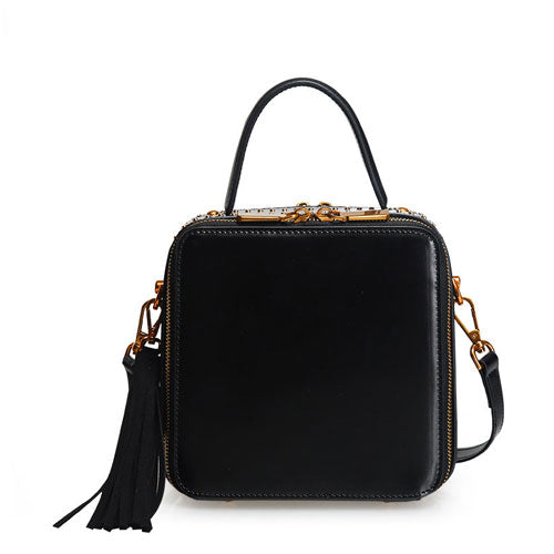 Structured Square Crossbody Satchel Bag - Annie Jewel