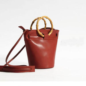 Bamboo Handle Small Bucket Bag - Annie Jewel