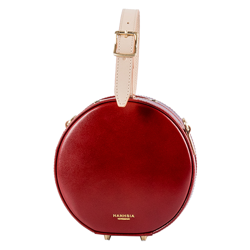 Burgundy Circle Bag Leather Circle Purse Circle Clutch Bag - Annie Jewel