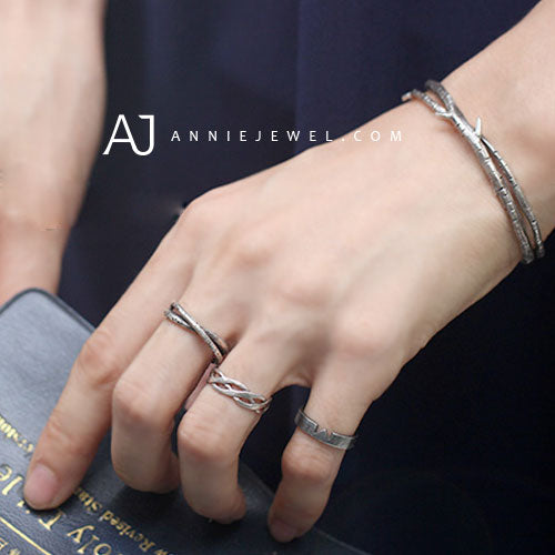 Silver Ring Unique Handmade Branch Cross Adjustable Ring Gift Jewelry Accessories - Annie Jewel