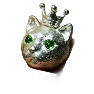 Handmade Silver Pendant Crown Cat Kitty Pet Unique Cute Bracelet Necklace Pendant Christmas Gift Jewelry Accessories Women