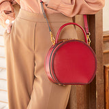 Red Circle Bag Leather Circle Bag Round Crossbody Purse - Annie Jewel