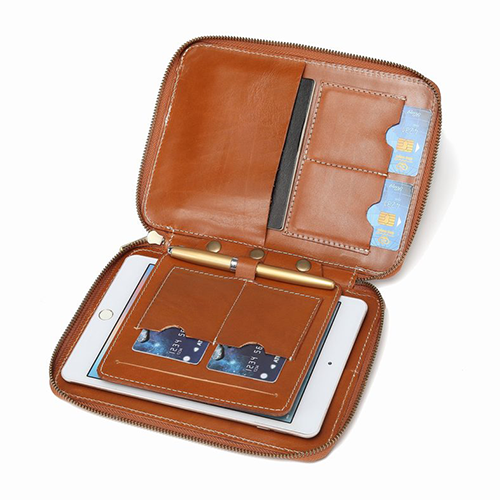 Personalized MENS Leather Passport Ipad Phone Clutch Purse Bag