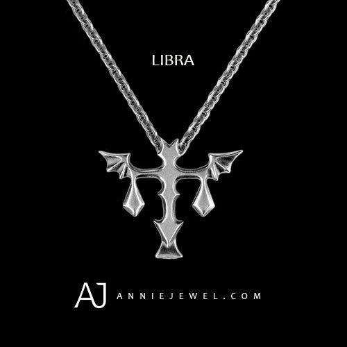 Silver Libra Crucifix Punk Astrology Constellation Chokers Necklace Womens Gift - Annie Jewel