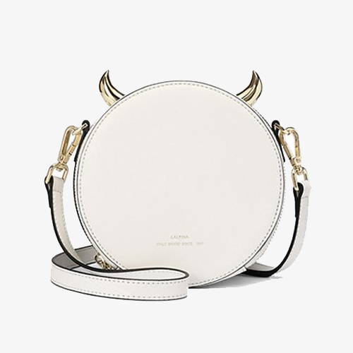 White Small Round Shoulder Bags - Annie Jewel