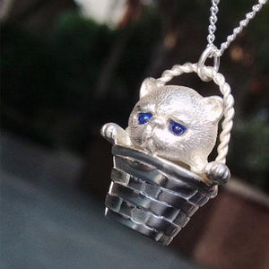 Handmade Silver Necklace Cat Kitty Lovely Pet Unique Cute Pendant Charm Necklace Christmas Gift Jewelry Accessories Women