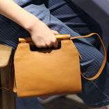 Handmade Genuine Leather Wooden Handbag Shoulder Crossbody Bag Purse Clutch For Women