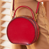 Red Leather Circle Bag Round Purses Crossbody Bags