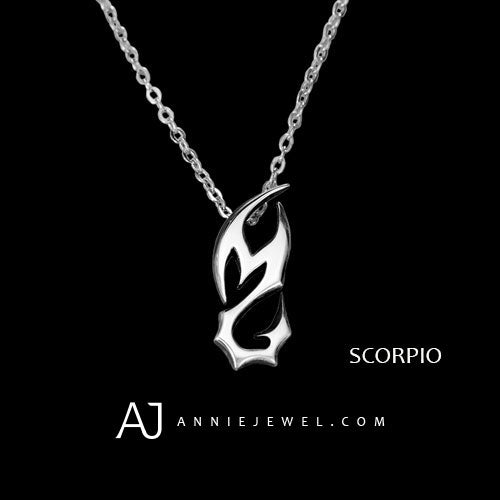 Silver Necklace Unique Scorpio Devil Tail Spirit Zodiac Astrology Constellation Vintage Charm Chokers Gift Jewelry Accessories Women Christmas - Annie Jewel