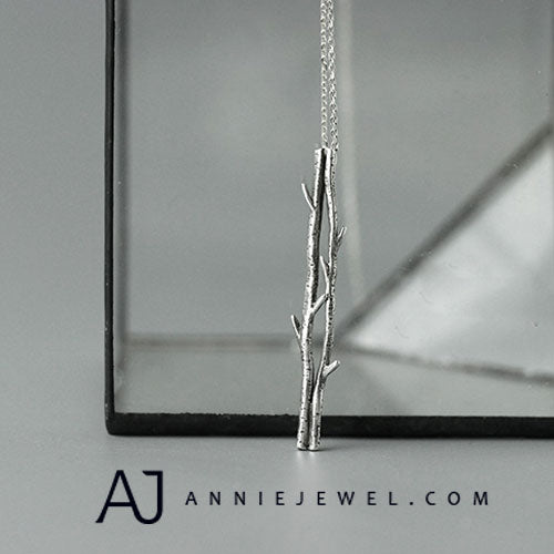 Sterling Silver Necklace Handmade Branch Pendant Charm Necklace Gift Jewelry Accessories Girls Women