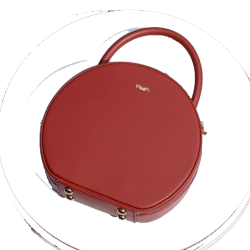 Leather Circle Bag Circular Round Handle Handbags Purse - Annie Jewel