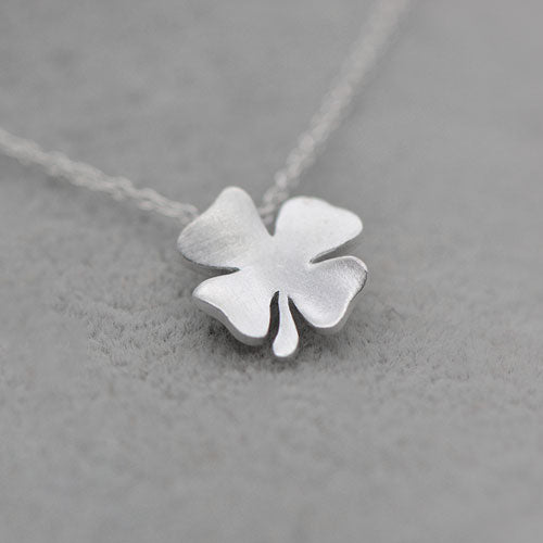 Sterling Silver Necklace Handmade Floral Clover Pendant Charm Necklace Gift Jewelry Cute Accessories Women