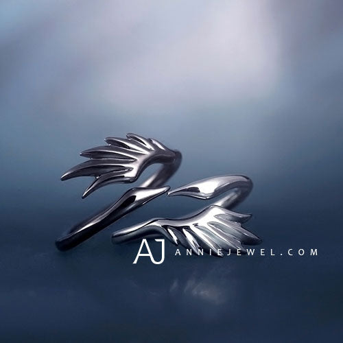 Adjustable Silver Black Swan Wing Ring Womens - Annie Jewel