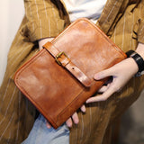 Handmade Genuine Leather Long Wallet Tool Bag Coin Purse Clutch For Women