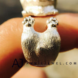 Unique Handmade Silver Ring Tooling Corgi Puppy Dog Pet Cute Ring Gift Jewelry Accessories Women Girls - Annie Jewel