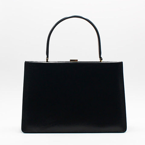 Black Structured Square Satchel Bag Purse - Annie Jewel