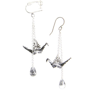 Handmade Earrings Origami Crane Thread Long Drop Dangle Gift Jewelry Accessories Girls Women