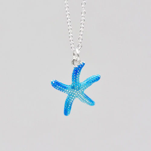 Sterling Silver Necklace Handmade Blue Starfish Pendant Charm Necklace Gift Jewelry Cute Accessories Women