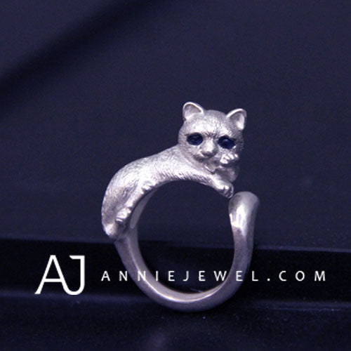 Unique Handmade Silver Ring Tooling Cat Kitty Pet Cute Ring Gift Jewelry Accessories Women Girls