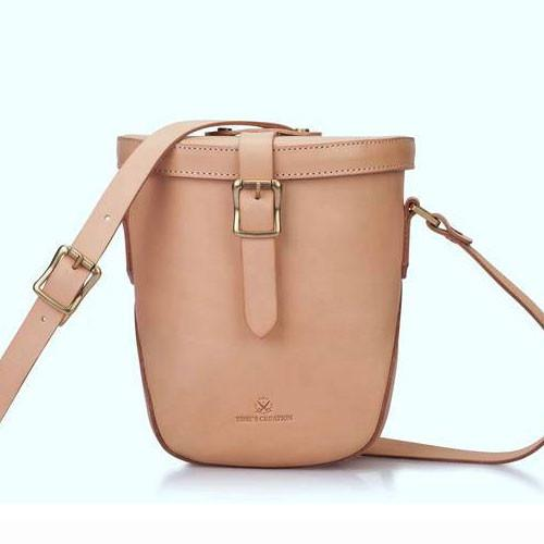 Small Full Grain Leather Canteen Bucket Bag - Annie Jewel