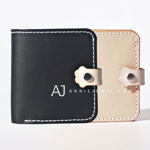 Handmade leather wallet folded short wallet cards wallet clutch cute purse bag for girls women