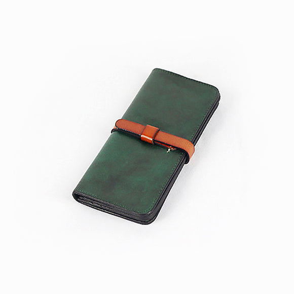 Genuine Leather Wallet Handmade Womens Long Folded Wallet Clutch Phone Purse Clutch - Annie Jewel