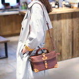 Brown Leather Satchel Purse Structured Bag - Annie Jewel