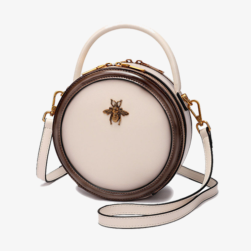 White Round Bumblebee Shoulder Bags - Annie Jewel